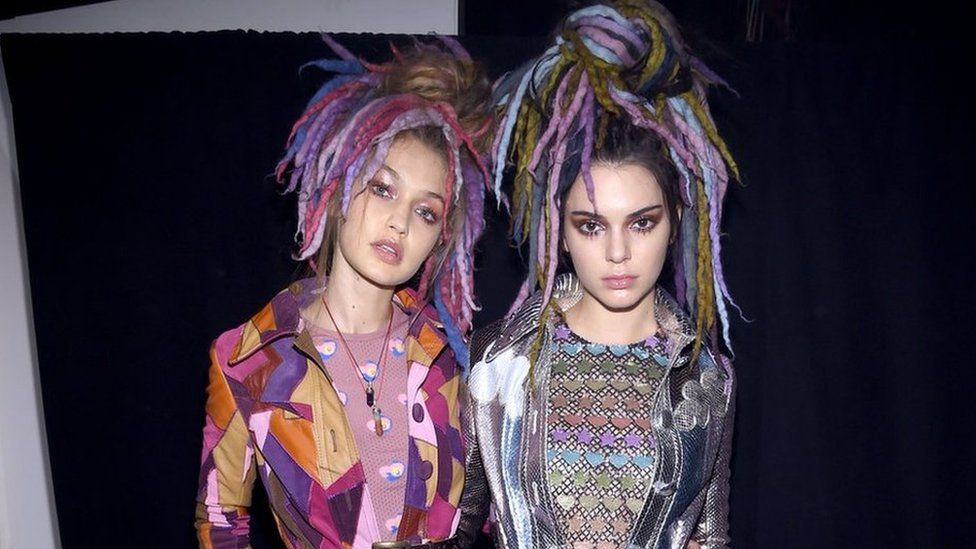 Models Hadid and Jenner sport dreadlocks for Marc Jacob's fall line. Photo from BBC.